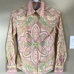 Lucky Brand Paisley Button Up Long Sleeve Shirt XS